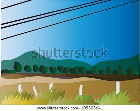 Vector - Rural landscape. - stock vector