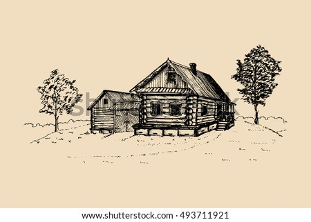 Vector Rural Landscape Illustration Hand Drawn Russian Countryside Poster Sketch Of Village Peasants House