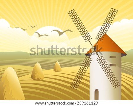 Vector rural landscape. Windmills with konsnoy roof, amid fields and stack hay - stock vector