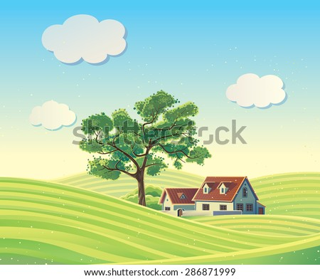 Vector rural landscape with the houses.  - stock vector
