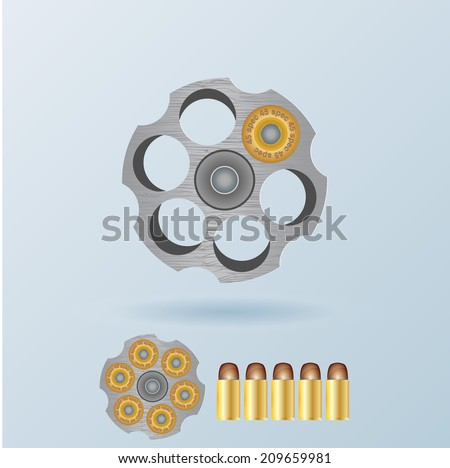 Vector russian roulette concept - stock vector