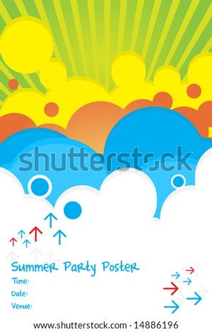Vector - 70s retro colorful summer party poster. - stock vector