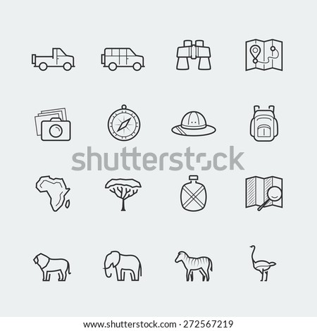 Vector safari icon set in outline style - stock vector
