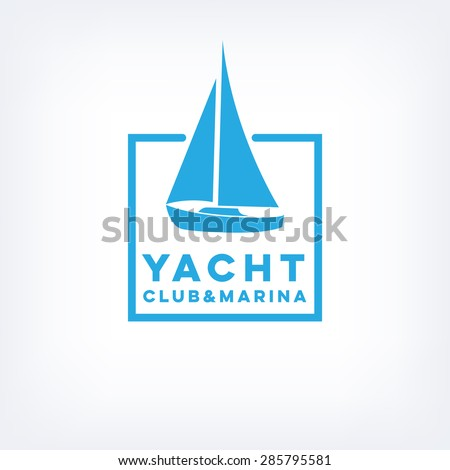 Vector sailboat logo for yacht club or marina - stock vector