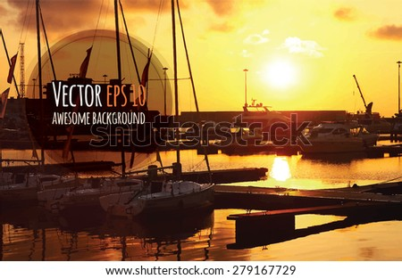 Vector sailing yacht boats on ocean water at sunset.  Can be used for summer background, banners, posters and web page - stock vector