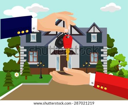 Vector sale house flat illustration - stock vector