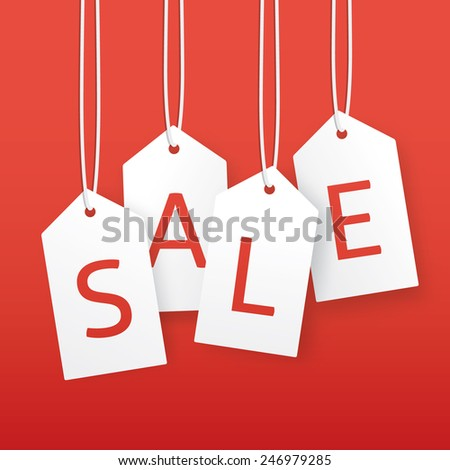 Vector sale illustration. Paper hanging price tags. Template with place for your text. - stock vector