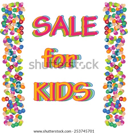 Vector sale kids shopping colorful background with round confetti for design. - stock vector