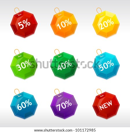 Vector sale labels crystal - stock vector