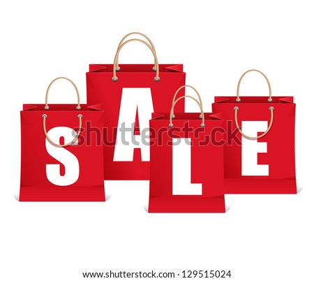Vector sale labels like shopping bag