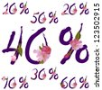 Vector sale percents in violet ink font with spring sakura flowers - stock vector