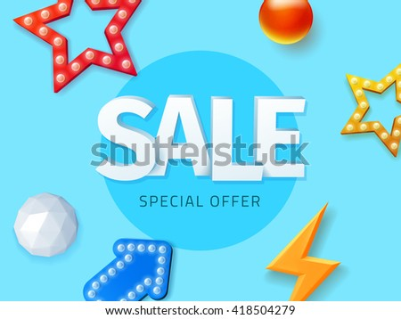 Vector sale special offer, blue background banner with objects