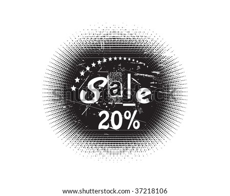 Vector 20% Sale stamp with white background - stock vector