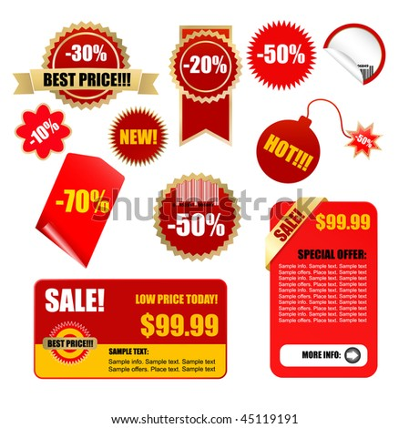 vector sale tags and labels set