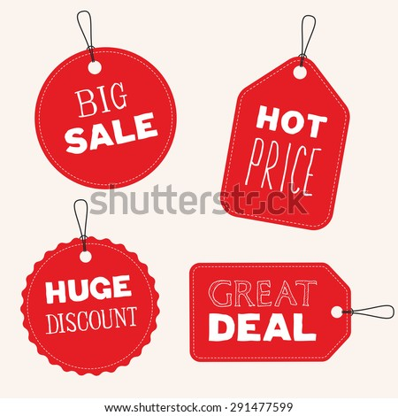 Vector sale tags, flat design - stock vector