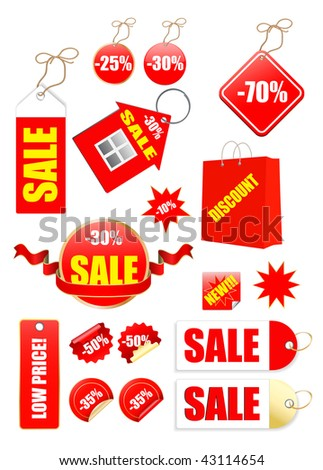 vector sale tags set with bag