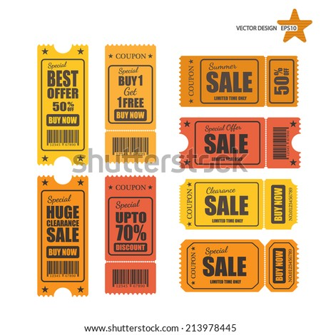 Vector sale tickets. - stock vector