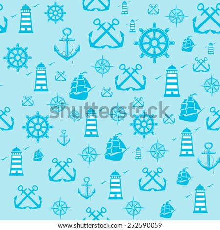 Vector sample Pattern Seamless with Marine  elements.  - stock vector
