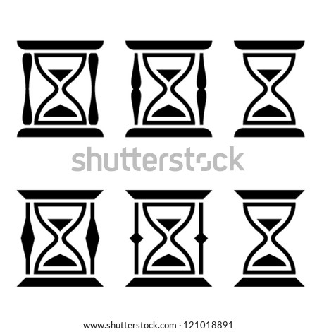 vector sand glass black symbols - stock vector