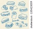 Vector sandwich doodle - stock