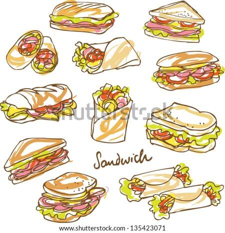 Vector sandwich doodle - stock vector