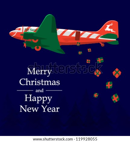 Vector Santa airplane - stock vector