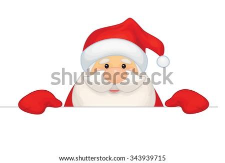 Vector Santa Claus cartoon hiding by blank isolated. - stock vector