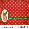 vector Santa Claus Deer vintage Christmas card - stock vector