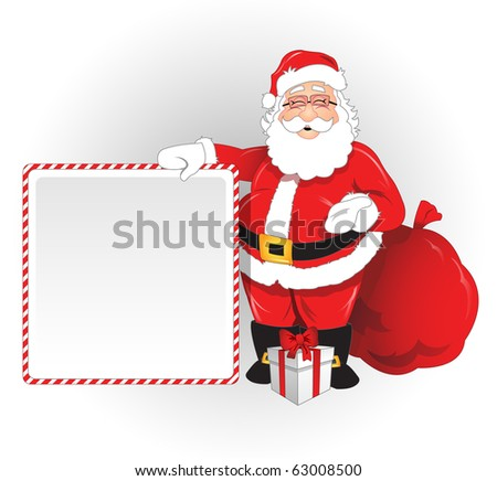 Vector Santa Claus with blank ad