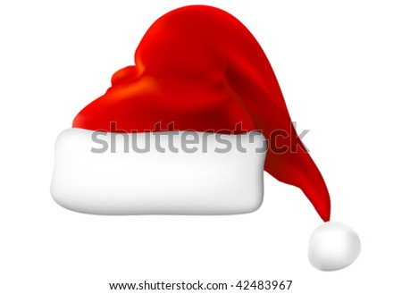 vector santa hat - stock vector