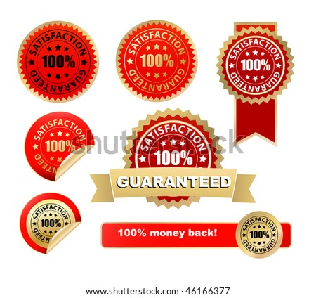 vector satisfaction guarantee labels - stock vector