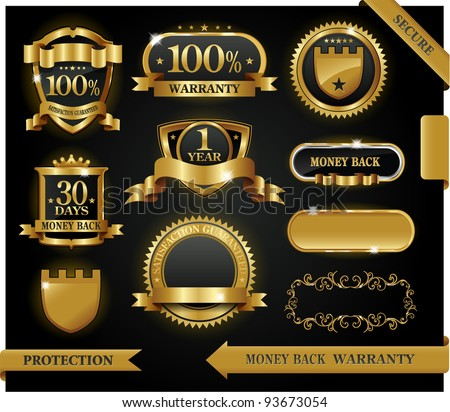 Vector 100% satisfaction guaranteed label and protection sign - stock vector
