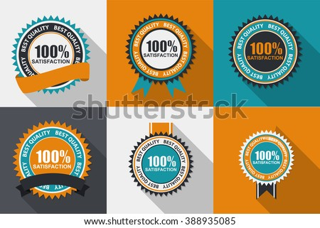 Vector 100% Satisfaction Quality Label Set in Flat Modern Design with Long Shadow. Vector Illustration EPS10