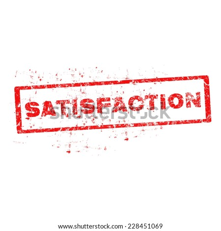 Vector satisfaction red stamp on white background.