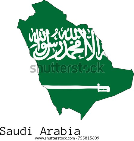 Vector Saudi Arabia map silhouette, painted in colors of a national flag