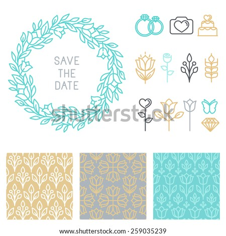 Vector save the date design template in linear style - icons and seamless patterns for wedding invitations - stock vector