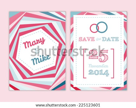 Vector Save the Date wedding invitation elegant card in pastel colors with abstract geometric background - stock vector