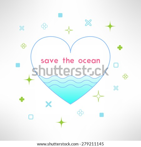 Vector save the ocean background in modern flat design. Sea ecology design element. - stock vector