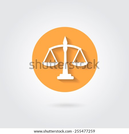 Vector scales balance icon in flat style. White silhouette of Libra in orange circle - stock vector