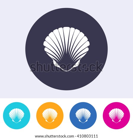 Vector scallop seashell icon on round colorful buttons - stock vector