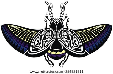 Vector scarab beetle, tattoo style - stock vector