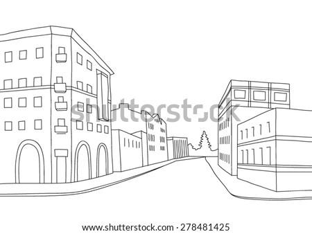vector scetch of perspective street - stock vector