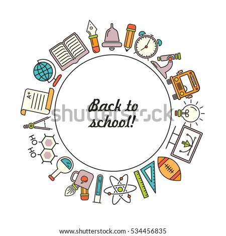 Vector school background, with colored linear icons on white. Education pattern with modern line style icons and place for text.