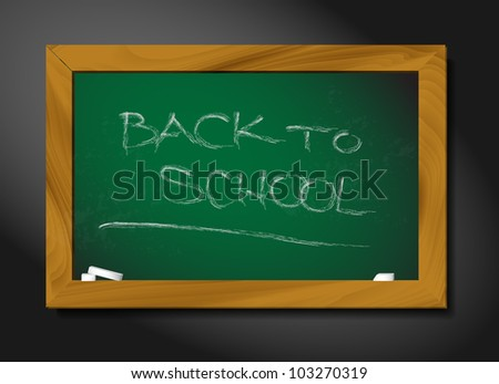 vector school blackboard illustration on black background - stock vector