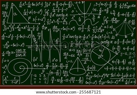 Vector school blackboard with handwritten mathematical calculations - stock vector
