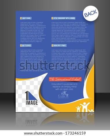 Vector School Brochure, Flyer Back, Magazine Cover & Poster Template  - stock vector
