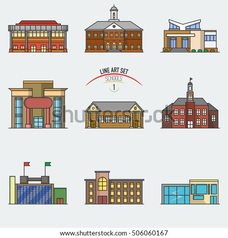 Vector school buildings set linear style stock vector for Different building styles