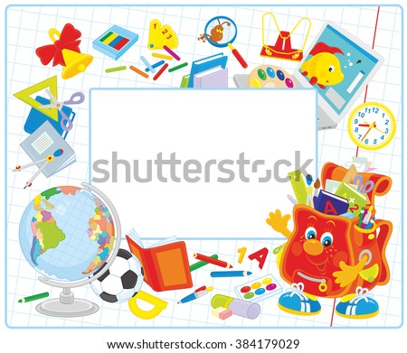 Vector school frame border with a funny character Schoolbag waving in greeting