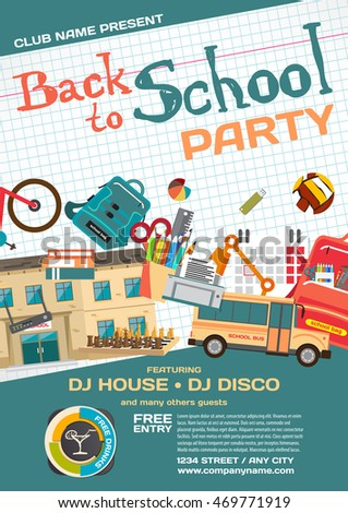 Vector school party invitation disco style. Meeting of graduates, high school students. School items, bus, house, stationery