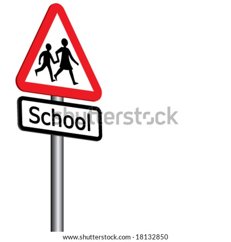 Vector School Sign 3D (1 of 2) - Also available left facing